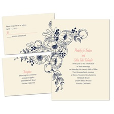 Penciled Posies Ecru Separate and Send Wedding Invitation