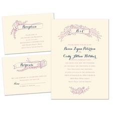 Charming Banners Ecru Separate and Send Wedding Invitation
