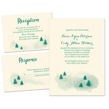 Peaceful Pines Ecru Separate and Send Wedding Invitation