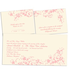 Floral Damask Ecru Separate and Send Wedding Invitation