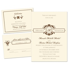 Striking Details Ecru Separate and Send Wedding Invitation