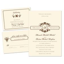 Striking Details Ecru Separate and Send Wedding Invitation