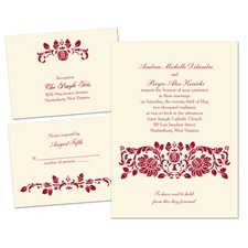 Victorian Damask Ecru Separate and Send Wedding Invitation