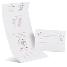 Cute Couple Seal and Send Black Wedding Invitation