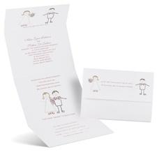 Cute Couple Seal and Send Wedding Invitation