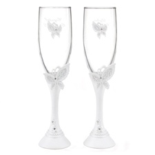 Butterfly Love Toasting Flutes