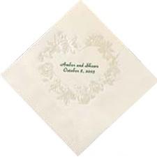 Ecru Pearl Floral Heart Dinner Napkin