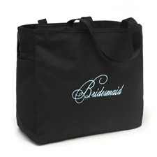 Black and Aqua Bridesmaid Tote Bag