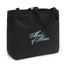 Black and Aqua Maid of Honor Tote Bag