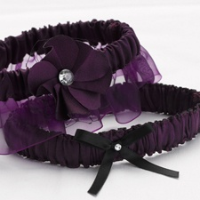 Eggplant Floral Glam Wedding Garter Set
