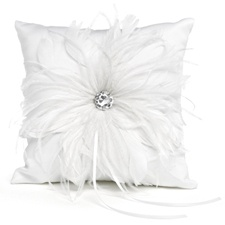 White Feathered Fantasy Ring Pillow