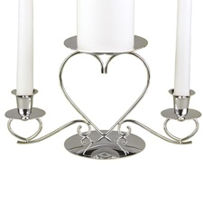 Silver Triple Heart Candle Stand