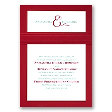 Two of Us Merlot Layered Red Wedding Invitation