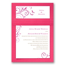 Swirling Love Birds Fuchsia Layered Wedding Invitation