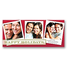 Retro Snowflakes - Merlot - Photo Holiday Card
