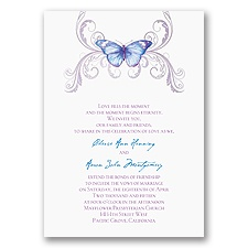 Delicate Butterfly Blue Wedding Invitation