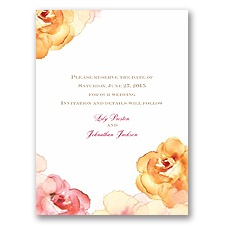 Watercolor Roses - Yellow - Save the Date Card