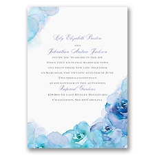 Watercolor Roses - Blue - Invitation