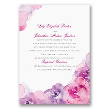 Watercolor Roses Purple Wedding Invitation