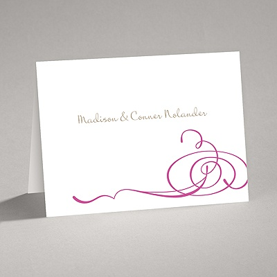 Calligraphy Swirls Fuchsia Thank You Card And Envelope