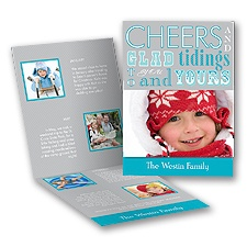 Glad Tidings - Blue Storyline Photo Holiday Card