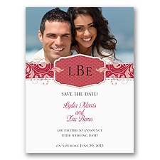 Filigree Monogram - Merlot - Save the Date Card