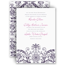 Vintage Damask Purple Wedding Invitation