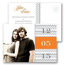 Chic Chevron Orange Modern Save the Date