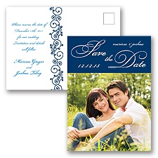 Scripted - Navy - Save the Date Postcard