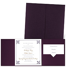 Filigree Edges Eggplant Pocket Purple Wedding Invitation