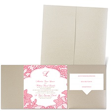 Lavish Lace Gold Shimmer Pocket Wedding Invitation