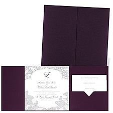 Lavish Lace - Eggplant - Pocket Invitation