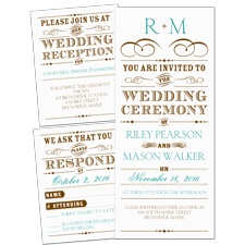 Vintage Type 3 for 1 Wedding Invitation
