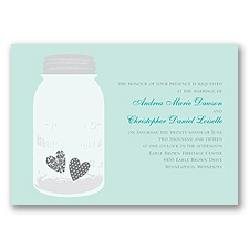 Jar of Hearts Aqua Vintage Wedding Invitation