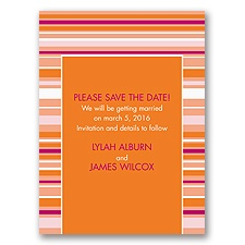 Chic Pinstripe - Poppy - Save the Date Card