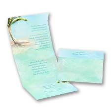 Palm Tree Seal and Send Wedding Invitation