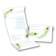 Watercolor Peacock Seal and Send Wedding Invitation