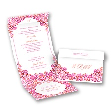 Flower Frame - Fuchsia - Seal and Send Invitation