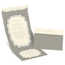 Striped Crest - Ecru - Seal and Send Invitation