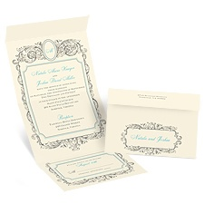 Posh Frame Ecru Seal and Send Wedding Invitation
