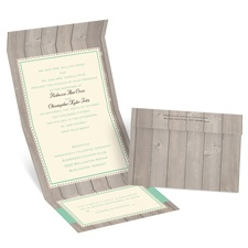 Rustic Fence Ecru Seal and Send Wedding Invitation