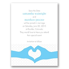 Heart Hands Celestial Blue Modern Save the Date
