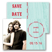 Wood Grain Aqua Save the Date