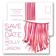 Streamers - Honeysuckle - Save the Date Postcard