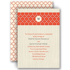 Wooden Lattice - Ecru - Invitation