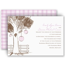 Gingham Lanterns Wedding Invitation