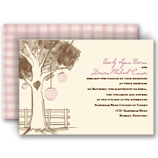 Gingham Lanterns Ecru Wedding Invitation