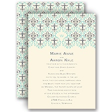 Damask Cross - Ecru - Invitation