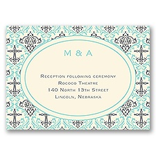 Damask Cross - Ecru - Reception Card