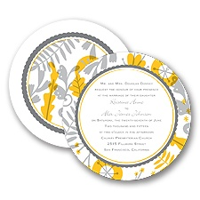Funky Floral - Pewter - Invitation